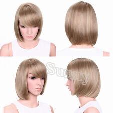 Fashion Women Short Bob Hair Wig Golden Blonde Heat Resistant Full Natural Wigs