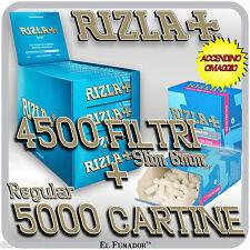 5000 Cartine RIZLA BLU CORTE + 4500 Filtri RIZLA SLIM 6mm + ACCENDINO OMAGGIO