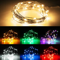 100 LED Micro Rice Wire Copper Fairy String Lights Party Remote Control Dimmer