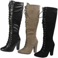 WOMENS BOOTS LADIES KNEE HIGH MID CALF LACE UP BLOCK HEEL PARTY CASUAL SIZE NEW