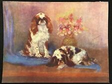 1934 Dog Print / Bookplate - KING CHARLES SPANIEL- Painting by Mrs G. Shaw-Baker