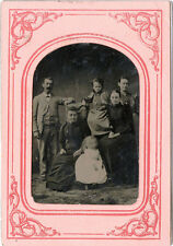 1/4 PLATE ANTIQUE TINTYPE PHOTO PORTRAIT OF A FAMILY WITH CHILDREN