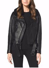 NWT MICHAEL KORS 100% Leather Moto-Jacket Faux-Fur Collar Belted BLACK SZ M $450