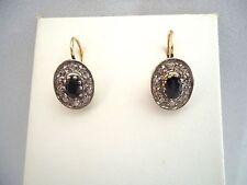 BELLE PAIRE DE DORMEUSES OR 18K ET ARGENT SAPHIR  DIAMANTS fin XIX or 18 carats