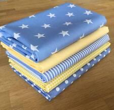 LEMON & PASTEL BLUE spots stars stripes fabric Fat Quarter Bundle 100% cotton