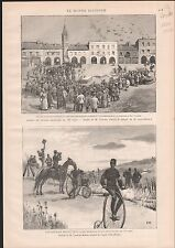 PIGEON PIGEONS VOYAGEURS SAUVETERRE SOLDAT VELO VELOCIPEDE 1886 GRAVURE PRINT
