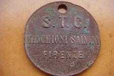 Very Rare Xix Century Italy S.T.C. Firenze Insane Idiots Sanatory Dog Tag Medal