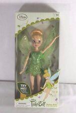 "Disney Store Tinker Bell Flutter Wing Doll Blonde Green Dress 10"""