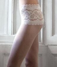 New Couture Bridal Sheer Deep Lace Top Tights White or Ivory Med Large & XL