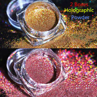 2Boxes Holographic Laser Glitter Powder Nail Art Gold Pink Pigment Dust Decor