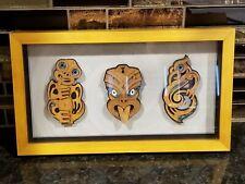 Maori Art Tiki Wheku & Manaia Carved Wood Paua Shell Framed Artwork Mike Carlton