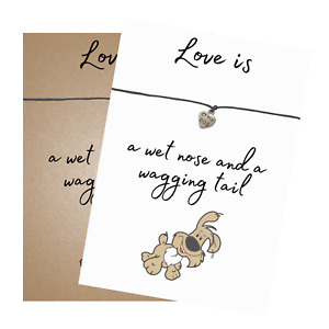 Dog Puppy Love Verse Card Wish Bracelet Dog Heart Charm - Friendship Wristband
