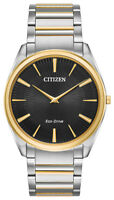 Citizen Eco-Drive Men's Stiletto Black Dial Two-Tone 38mm Watch AR3074-54E
