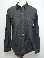 Calvin Klein Women's Small Shirt Black Denim Long Sleeve Button Down Front