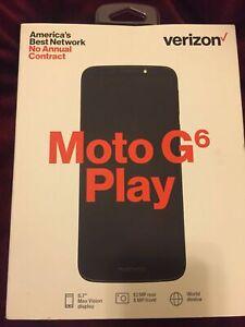 "New Deep Indigo Verizon Moto G6 Play 16GB Memory 5.7"" Prepaid Cell Phone"
