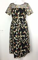Liquorish Midi Dress Size 10 Black Net Floral Embroidered Overlay Cocktail Party
