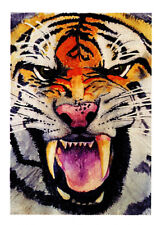Greeting card of a fierce Tiger face from an original watercolor by Glenda Gilm