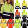 Hi Viz Vis High Visibility Jacket Hoodies Workwear Hooded Sweatshirt Work Tops