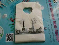 lot 50 pochettes sacs sachet plastique fantaisie 15x9 tour eiffel cadeaux bijoux