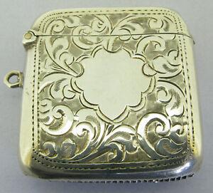 Antique Solid Sterling Silver Vesta Matchsafe Fob Bir 1919