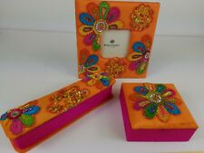 Handcrafted Set/3 Bead Treasure Chest Trinket Jewelry Box Picture Frame Match