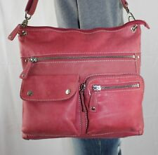 FOSSIL Large Pink Leather Shoulder Hobo Tote Slouch Cross Body Purse Bag