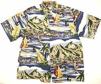 Reyn Spooner Men's Hawaiian Shirt Boats shops Coastal Print 100% Cotton Size 2XL