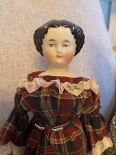 "Petite 12"" Antique Civil War Era German High Brow China Doll Cabinet Size"