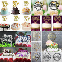 """Creative Gold Silver Cake Topper """"Happy Birthday""""10th-60th Party Supplies Decor"""