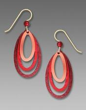 Adajio Earrings Sterling Silver Hook Rich Red and Copper Three Layer Ovals