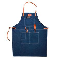 Denim Bib apron with PU Hanging Neck Strap for Kitchen Cooking Garden Work Cloth