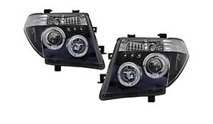 LED ANGEL EYES Black HeadLights for PathFinder R51 Nissan Navara D40 PAIR