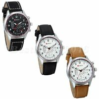Men's Business Quartz Watch with Leather Strap Analog Dress Casual Wrist Watch