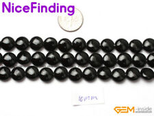 "10mm coin  black agate onyx gemstone beads strand 15"""