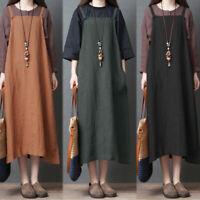 ZANZEA Womens Vintage Sleeveless Strappy Cotton Linen Baggy Pinafore Dresss Plus