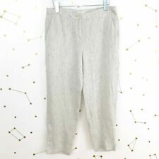 NWT ❤EILEEN FISHER ORGANIC LINEN SLOUCHY ANKLE PANTS in BONE + NAVY STRIPE SZ XL