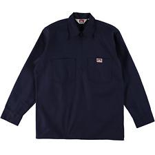 Ben Davis Long Sleeve Half Zip Work Shirt Solid Navy