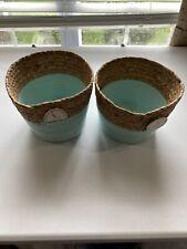 Lot Of (2) Straw Baskets - Aqua