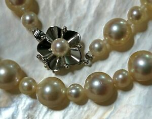 CERTIFICATE Pearl Akoya necklace solid white gold 14k pink wg JAPANESE 8mm $3k