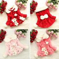 Toddler Baby Girls Warm Fur Fleece Coat Kids Winter Warm Jacket Outwear 1-5 Year