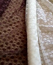 """Fab Brown Poly Lace Fabric - Daisies - 112cm or 44"""" Wide - Per Metre"""
