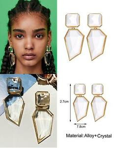 STATEMENT Long Gold Clear Chunky Big Large Crystal Stone Drop Dangle Earrings UK