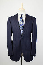 NWT CESARE ATTOLINI NAPOLI Navy Striped Cashmere Blend Suit 48/38 R Drop 7 $8200