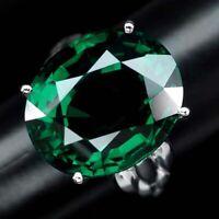 PARAIBA GREEN APATITE MAIN STONE 20.10 CT. SAPPHIRE 925 SILVER RING SZ 7.5