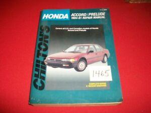 1984-91 HONDA ACCORD & PRELUDE ALL MODELS CHILTONS REPAIR MANUAL #8255