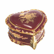 Burgundy Heart Shaped Goldtone Floral Musical Jewelry Box Plays Walts Of Flowers