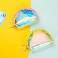 Cute Zipper Coin Purse PVC Laser Credit Card Holder Mini Wallet Pocket Bag Gifts