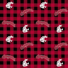 College Cotton WSU Washington State U Quilt Fabric by Sykel Red Sold by 1/2 Yd