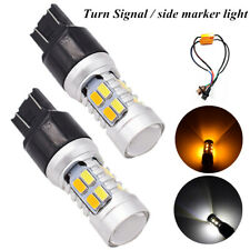 2PCS 7443 20 SMD 5730 LED White/Amber Turn Brake Signal Light Side Marker Light