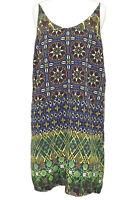 TOPSHOP Blue Green Geometric Print Clash Strappy Boho Hippy Shift Dress Size 10